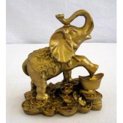 Zlatý Slon s ingotem a mincemi 10cm