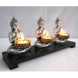 3x Buddha 12cm + stojánek 32cm