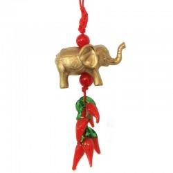 Feng Sui - Ochranný přívěsek slon s chilli papričkami - malý (SADA 12ks)