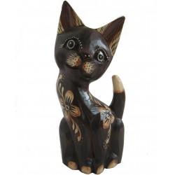 Kočka sedící zbobená květinovým motivem 30cm