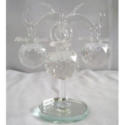 Křišťálový skleněný strom s jablky 13cm