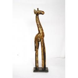 Dřevěná žirafa - zlacená 80 cm