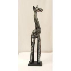Dřevěná žirafa - stříbrná 60 cm