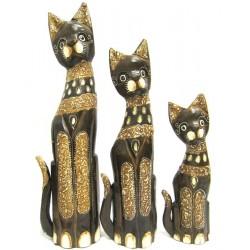 Dřevěná Kočka - sada 3ks