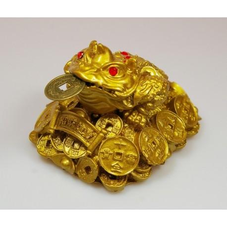 Třínohá žába střežící mince-mály