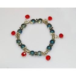 Náramek barevné perličky se stříbrem-(SADA 12ks)