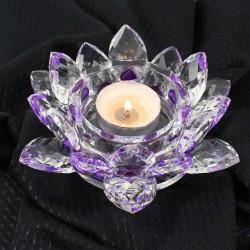 Křištálový lotus svícen 16cm-colour
