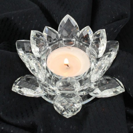 Křištálový lotus svícen 12cm-čira