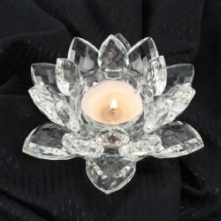 Křištálový lotus svícen 14cm-čira