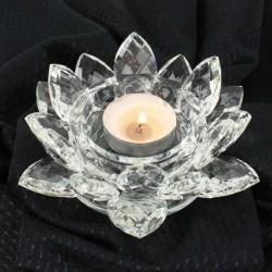 Křištálový lotus svícen 16cm-čira