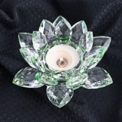 Křištálový lotus svícen 14cm-colour
