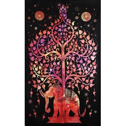 Orientální bavlněný přehoz Slon a Strom života 140x210cm