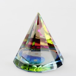 Těžítko, křišťálová pyramida 6cm-Ying Yang