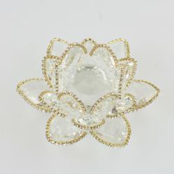 Ozdobený křišťálový květ lotos 14cm- čira