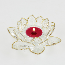 Ozdobený křištálový lotus svícen 12cm-čira