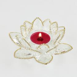 Ozdobený křištálový lotus svícen 14cm-čira