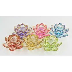 Ozdobený křišťálový květ lotos 14cm-Barevný