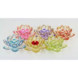 Ozdobený křištálový lotus svícen 14cm-barevný