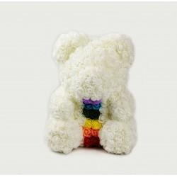 Více  barevný medvídek z růží  /Rose Bear 35 cm