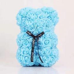 Medvídek z růží modrý/Rose Bear 25 cm
