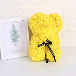 Medvídek z růží žlutý /Rose Bear 25 cm