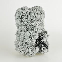 Medvídek z růží - Šeda 25 cm