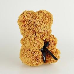 Medvídek z růží - Zlatý 25 cm