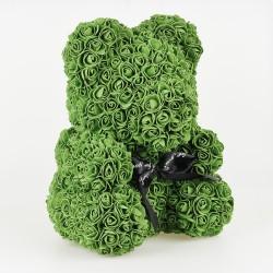 Medvídek z růží - Olivová 35 cm