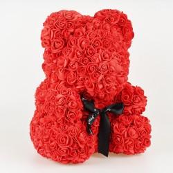 Medvídek z růží - červený 35 cm