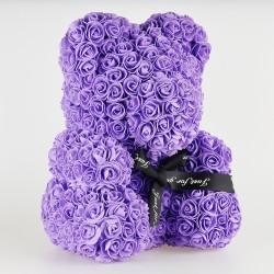 Medvídek z růží - Fialový  35 cm