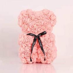 Medvídek z růží - světle oranžová 25 cm