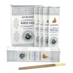 Vonné tyčinky Ayurvedic - WHITE SAGE (Sada 12 krabiček)