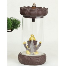 Stojan na vonné kužely - Tekoucí dým - Budha za sklem