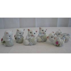 Kočky 6cm - sada 6ks růžové